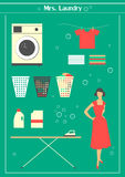 Retro laundry set Stock Photos