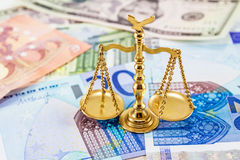 Retro law scales on different banknotes. Symbol of justice Royalty Free Stock Photos