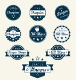 Retro League Champion Labels and Stickers Royalty Free Stock Photography