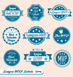 Retro League MVP Labels and Stickers. Collection of vintage style league MVP labels and badges Royalty Free Stock Images