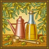 Retro- Lebensdauer des Olivenöls noch Stockfotos