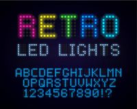 Retro led font. Old style glowing abc. Vintage neon typeface. Retro led font. Old style glowing abc. Vintage neon typeface royalty free illustration