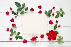 Retro- leerer Fotorahmen für die innere und rote Rose blüht auf weißem Hintergrund Stockfotografie