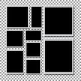 Retro lege fotografie met schaduw op een transparante achtergrond Stock Foto's