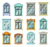 Retro legno o vista di legno delle strutture della finestra isolata sulla parete della casa Fotografie Stock