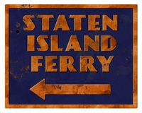 Retro lerciume di Staten Island Ferry Sign Vintage Illustrazione Vettoriale