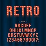 Retro, lettere d'annata di alfabeto della lampadina e numeri per le insegne, film, teatro, casinò illustrazione di stock
