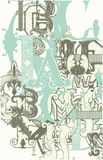 Retro lettere di alfabeto Fotografia Stock