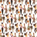 Retro- Leutevektor der Weinlese Victoriankarikaturherren Reden Sie Victorianherr-Kleidungsantike alte Leute der Mode an stockfotos