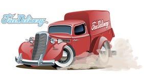 Retro leveransskåpbil för tecknad film Arkivfoton