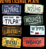 Retro licence plates stock photos