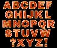 Retro- Licht-Buchstaben Stockfotografie
