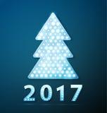 Retro lichte banner een Kerstboom met nieuw het jaarsymbool van 2017 vector illustratie