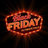 Retro lichte kader van Black Friday Vector stock illustratie