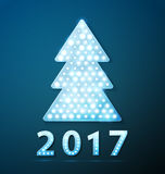 Retro light banner a Christmas tree with 2017 new year symbol Stock Images