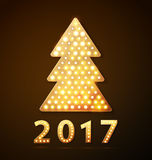 Retro light banner a Christmas tree with 2017 new year symbol. Vector illustration eps 10 stock illustration