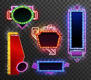 Retro light banner set. On transparent background isolated vector illustration Stock Photos