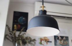 Retro light of black hanging lamp Stock Photography