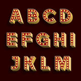Retro Light Bulb Alphabet Vector Font. Part 1 of 3. Letters A - M. Stock Image
