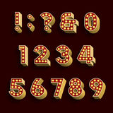 Retro Light Bulb Alphabet Vector Font. Part 3 of 3. Numbers and symbols. Royalty Free Stock Photo