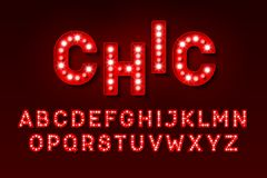 Retro light bulb font royalty free illustration