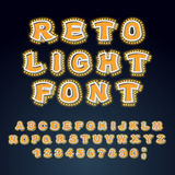 Retro Light font. Glowing letters. Alphabet with lamps. ABC poin Royalty Free Stock Photos