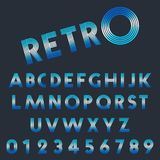Retro light font template. Set of letters and numbers line design. Vector illustration royalty free illustration