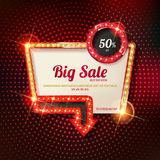 Retro light frame. Big sale. Sale and discount, business banner. Vector illustration Royalty Free Stock Photography