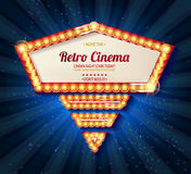 Retro light frame. Cinema poster in a gold frame on the background of a blue curtain, a movie template for the layout, banner and cover. Vector illustration Stock Images