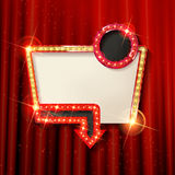 Retro light frame. Cinema poster in a gold frame on the background of a red curtain, a movie template for the layout, banner and cover. Vector illustration Royalty Free Stock Photos