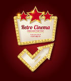 Retro light frame. Cinema poster in a gold frame on the background of a red curtain, a movie template for the layout, banner and cover. Vector illustration Royalty Free Stock Photography