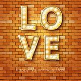 Retro light sign. Banner lights, the word Love Stock Photos