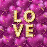 Retro light sign. Glittering gold confetti, heart shape. Balloons. Banner lights, the word Love on festive background. Design element for Happy Valentine`s Day Stock Images
