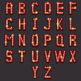 Retro Lightbulb-Alfabet Royalty-vrije Stock Afbeeldingen