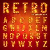 Retro Lightbulb Alphabet. Glamorous showtime theatre alphabet. Vector illustration