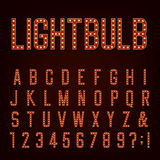 Retro Lightbulb Alphabet Vector Font Royalty Free Stock Photos