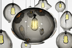 Retro lightbulbs on a white wall Royalty Free Stock Images