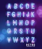 Retro Lightbulbteaterbokstäver royaltyfri illustrationer