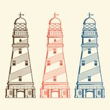 Retro lighthouses set  on white background. Line art. Modern design Royalty Free Stock Image