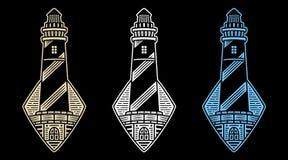Retro vector lighthouses. vector illustration