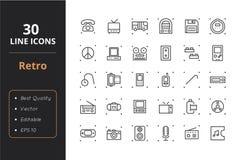 30 Retro Lijnpictogrammen vector illustratie
