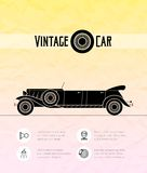 Retro limousine cabriolet car, vintage outline Royalty Free Stock Photography