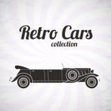 Retro limousinecabrioletbil, tappningsamling Royaltyfri Foto