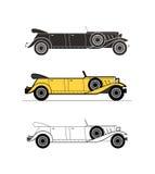 Retro limousinecabrioletbil, tappningsamling Royaltyfri Bild