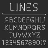 Retro Line Alphabet and Numbers Stock Image
