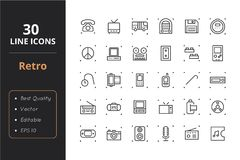 30 Retro Line Icons. High quality retro line icons. Icons for user interfaces and web Royalty Free Stock Photography