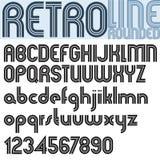 Retro Line stylish font, vector alphabet. Stock Photography