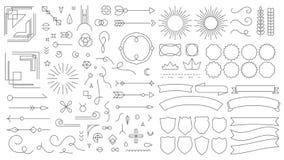 Retro linea elementi dell'emblema I distintivi di disegno decorativi d'annata, vecchio stile hanno allineato le strisce laterali  illustrazione vettoriale