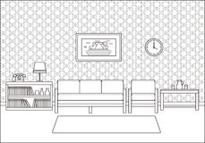 Retro room interior in line art flat design. Vector illustration