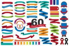 60 retro linten en etiketten Stock Foto's
